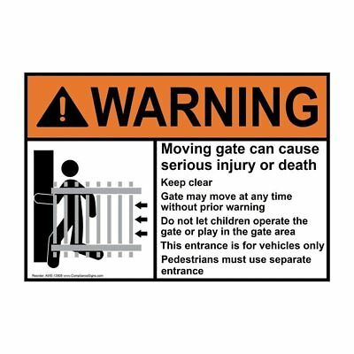 ComplianceSigns Aluminum ANSI WARNING sign, 10 x 7 in. with Automatic Gates and