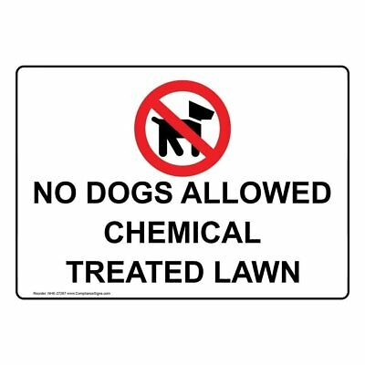 ComplianceSigns Plastic No Dogs Allowed Chemical Treated Lawn Sign, 10 X 7 in. w