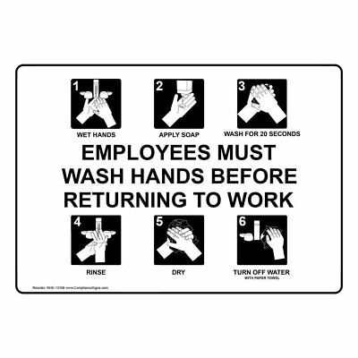 ComplianceSigns Plastic Employee Wash Hands Sign, 10 x 7 in. with English Text,