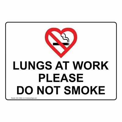 ComplianceSigns Plastic No Smoking Sign, 7 x 5 in. with English Text, White