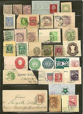 World Wide Old Prestamped Cut Squares Used -30-