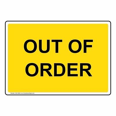 ComplianceSigns Plastic Restroom Closed / Out of Order Sign, 10 x 7 in. with Eng