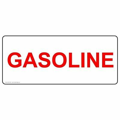ComplianceSigns Vinyl Gasoline Label, 14 x 5 in. with English, White