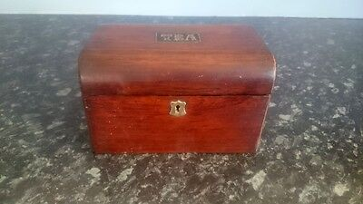 Cute rustic wooden Antique Tea Caddy ~ Vintage Edwardian ~ lock but no key