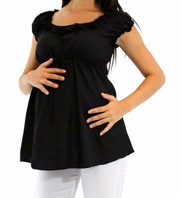 Black Maternity Top Solid Babyshower Party Top Pregnancy Pregnant Blouse