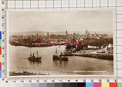 Aberdeen from Balnagask vintage postcard ships and Harbour