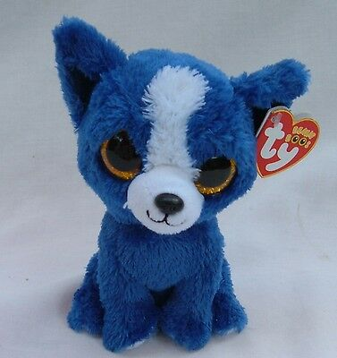 Scarce Ty Beanie Boo Blue T-Bone Puppy With Tag In Nice Condition
