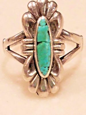 Sterling Silver Sandcast Navajo Turquoise Ring Size 5