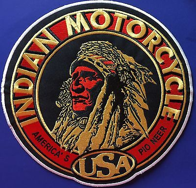 """Indian Motorcycle Embrd """"round""""chief  Patch ~ Giant 10"""" Back Piece ~ Ships Free!"""