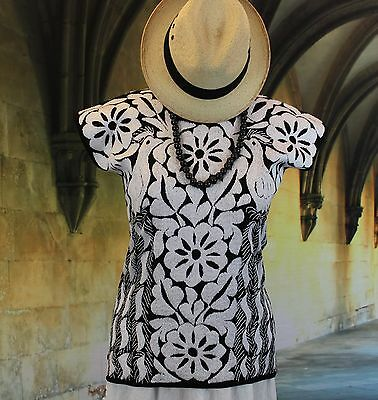 Hand Embroidered Huipil / Blouse Black & White Peacock, Jalapa Mexican, Hippie
