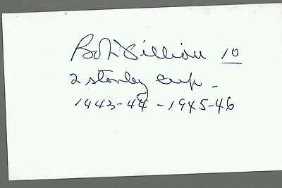 Bob Fillion Signed Unlined Index Card Montreal Canadiens Inscribed