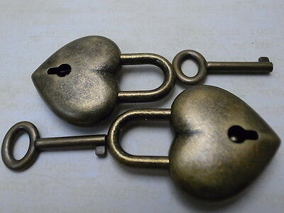 Old Antique Style Small  Padlock With Keys--Antique Bronze Color(Lot of 2)New