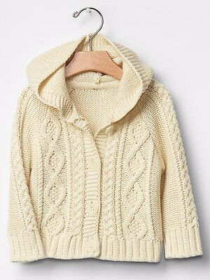 NWT Baby Gap Boys Girls Unisex Size 0-3 Months Cable Hooded Cardigan Sweater NEW