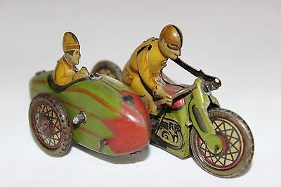 Antique 30S PAYA SIDECAR MOTORCYCLE WIND UP PENNY TOY TIN LITHO No Tippco Cko