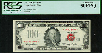 "1966 $100 Legal Tender FR-1550 - ""Red Seal"" - PCGS 50PPQ - About New"