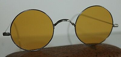 Vintage Round Amber Sunglasses Sun Glasses w/ Stainless Steel Frames