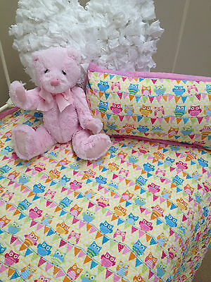 Girls Cot Quilt Cotton Quilted Baby Owl Hoot Hoot Nursery Bedding Coverlet