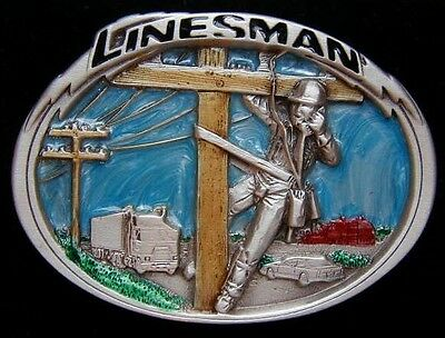Linesman Belt Buckle Colored New!