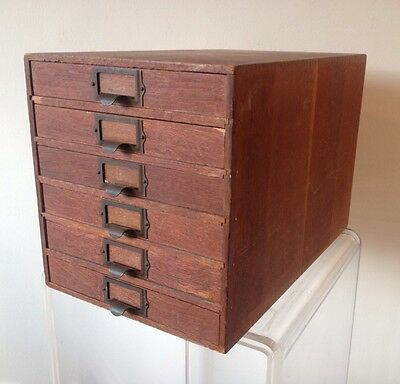 "ANTIQUE MINIATURE 6 DRAWER WOOD FILE CABINET BOX DOVETAILED Appr 10"" x 15"""