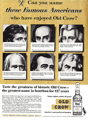 1962 Old Crow Whiskey: Famous Americans Print Ad (24524)