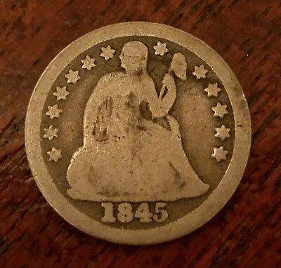 1845 United States 90% silver seated liberty dime 10 cent