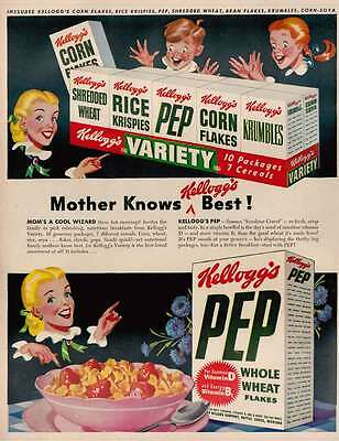 1948 Kelloggs Cereals: Mothers Knows Kelloggs Best Print Ad (22348)