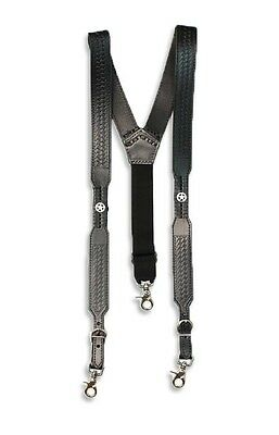 Western Men's Nocona Embossed Black Basketweave Star Concho Suspenders - M