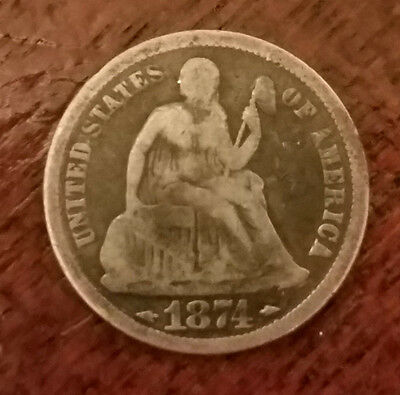 1874 United States 90% silver seated liberty dime 10 cent (#1)