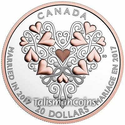 Canada 2017 Wedding Hearts Entwined $20 Silver Proof 24K Rose Pink Gold Plated