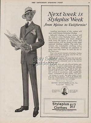 1915 STYLEPLUS CLOTHES Men's Suit~Fashions-Sonneborn Baltimore MD Ad