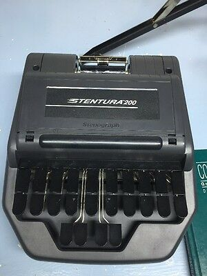 Stentura 200 Stenograph Court Reporting Machine With Tripot Paper Tray Tripod