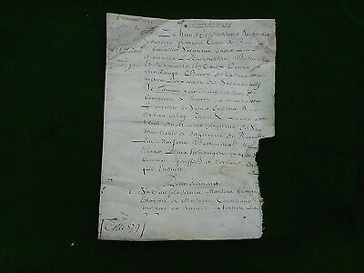 FRANCE. Manuscript document on vellum, dated 1682, four pages, nibbled.