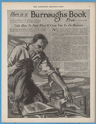 1911 Burroughs Adding Machine accounting Bookkeeping AWESOME art ad