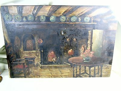 Antique Old Oil Painting Country Farm House Signed Lm Cockburn Canvas