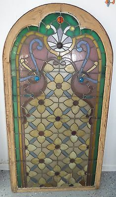 "Antique Victorian Leaded Stained Glass Arched Window w/ Jewels 70 1/4"" X 36 1/2"""