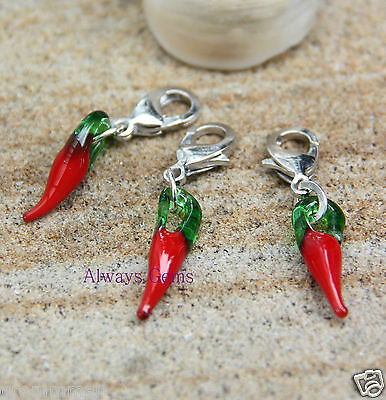 One Lampwork Red Hot Chili Chilli Peppers Clip on charm Zipper Pull Handmade New