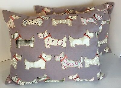 Scottish Terrier Throw Pillow Lot Of Two Scottie Pillows Purple Embroidered