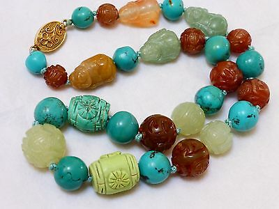 "VINTAGE Chinese Carved TURQUOISE JADE BEADS NECKLACE 19"" long 93g, silver clasp"
