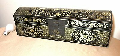 very large antique hand made Japanese painted lacquer wood bronze scroll fan box