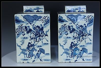 A Pair Rare Brilliance Chinese Blue and white Porcelain Character Tea caddy