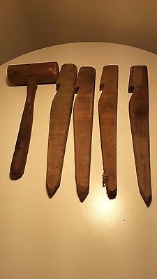 Vintage Wooden Camping Pegs & Mallet Wooden Stake
