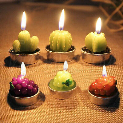 6pcs Wedding Smokeless Candles Cactus Candle Simulation Plant Candle Party Decor