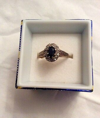 9ct Gold Sapphire and White Stone Cluster Ring