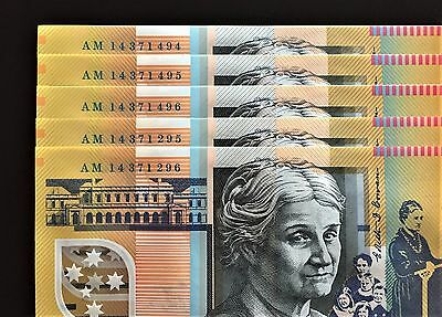 "2014 Australia $50 Note ** AM ** Prefix * LAST of the ""A"" Prefixes? Mint UNC!!"