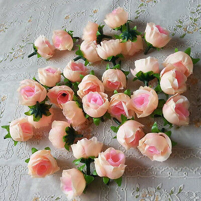 New 100x Roses Bud Artificial Silk Flower Heads Party Wedding Home Decor Cheap