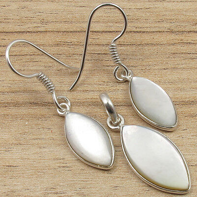Sea Sourced MOTHER OF PEARL, 925 Silver Overlay Earrings & Pendant Jewelry Set