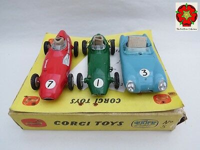 Corgi Toys, Gift Set 5 British Racing Cars unplayed RARE with packing piece(s).