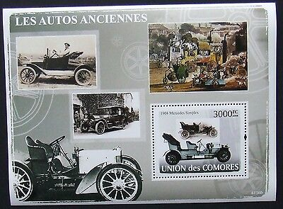 Comoros 2008 - Classic cars, 1 S/S perforated, MNH, L 346
