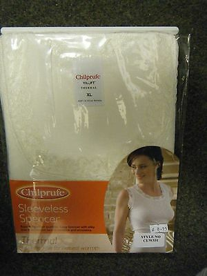 Ladies Winter White Chilprufe Sleeveless Thermal Vest Size X Large