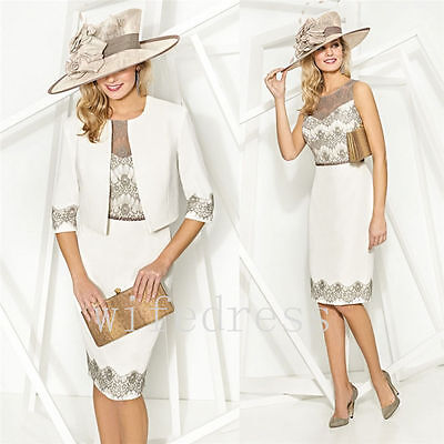 Grey Knee Length Lace Mother Of The Bride Dresses With Free Jacket Formal Outfit